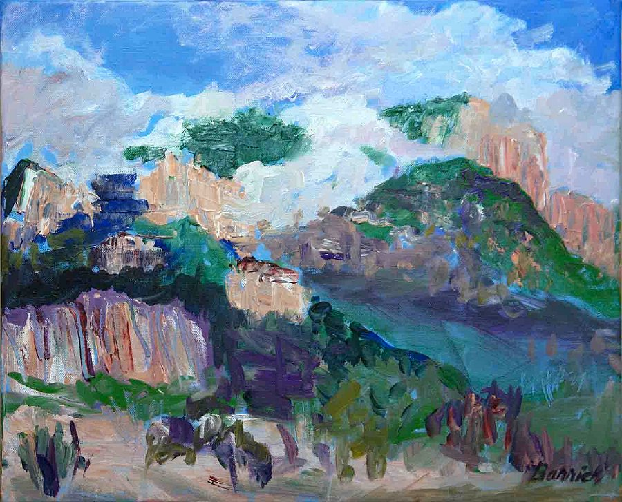 """""""NM Dancing Clouds Sandia Mtns."""", Acrylic, SOLD"""