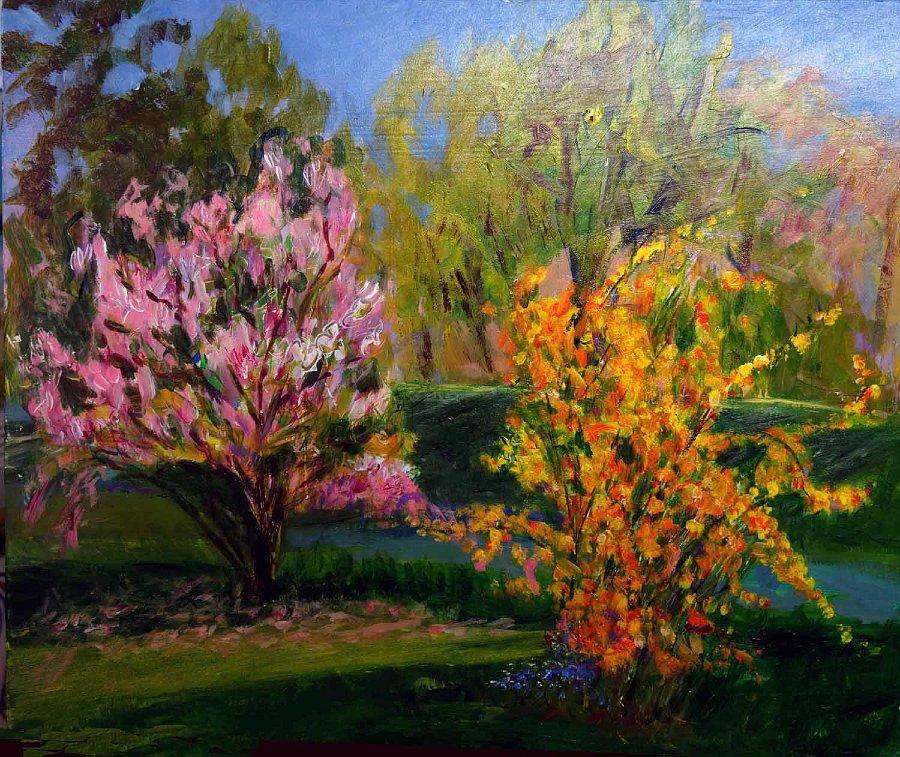 """Raking Spring Light"", Acrylic on panel"