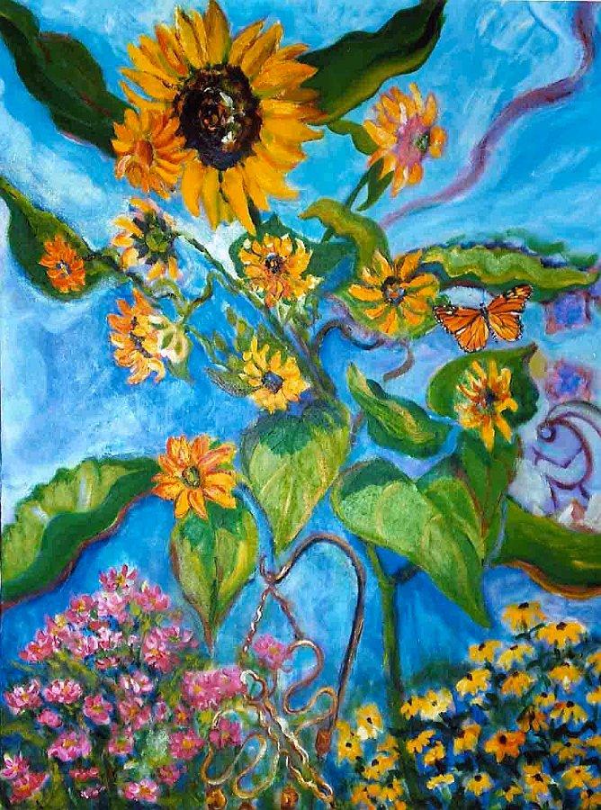 """""""Sunflowers-Kokopelli"""", Acrylic on canvas"""