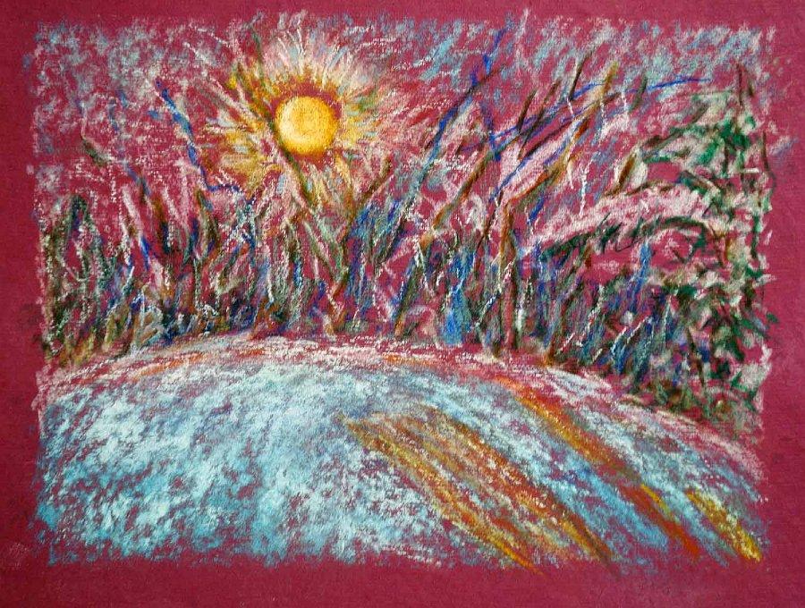 """Winter Sunrise"". Caran Dache on paper"