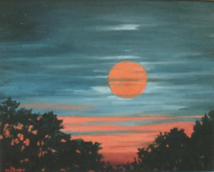 """Full Moon at Sunset"""