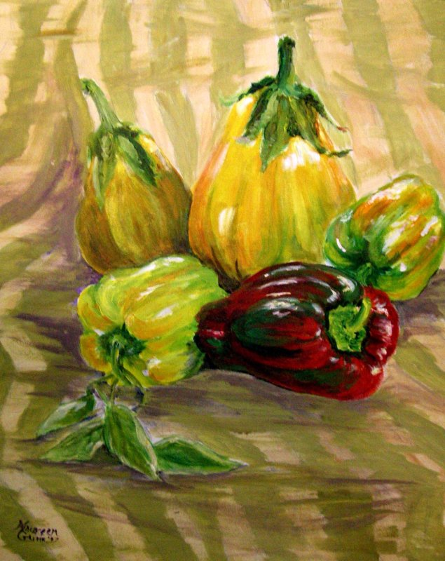 """Yellow Eggplants and Peppers"""