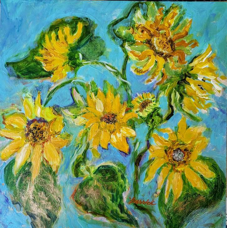 """Sunflowers"", Acrylic/Panel,  12x12"