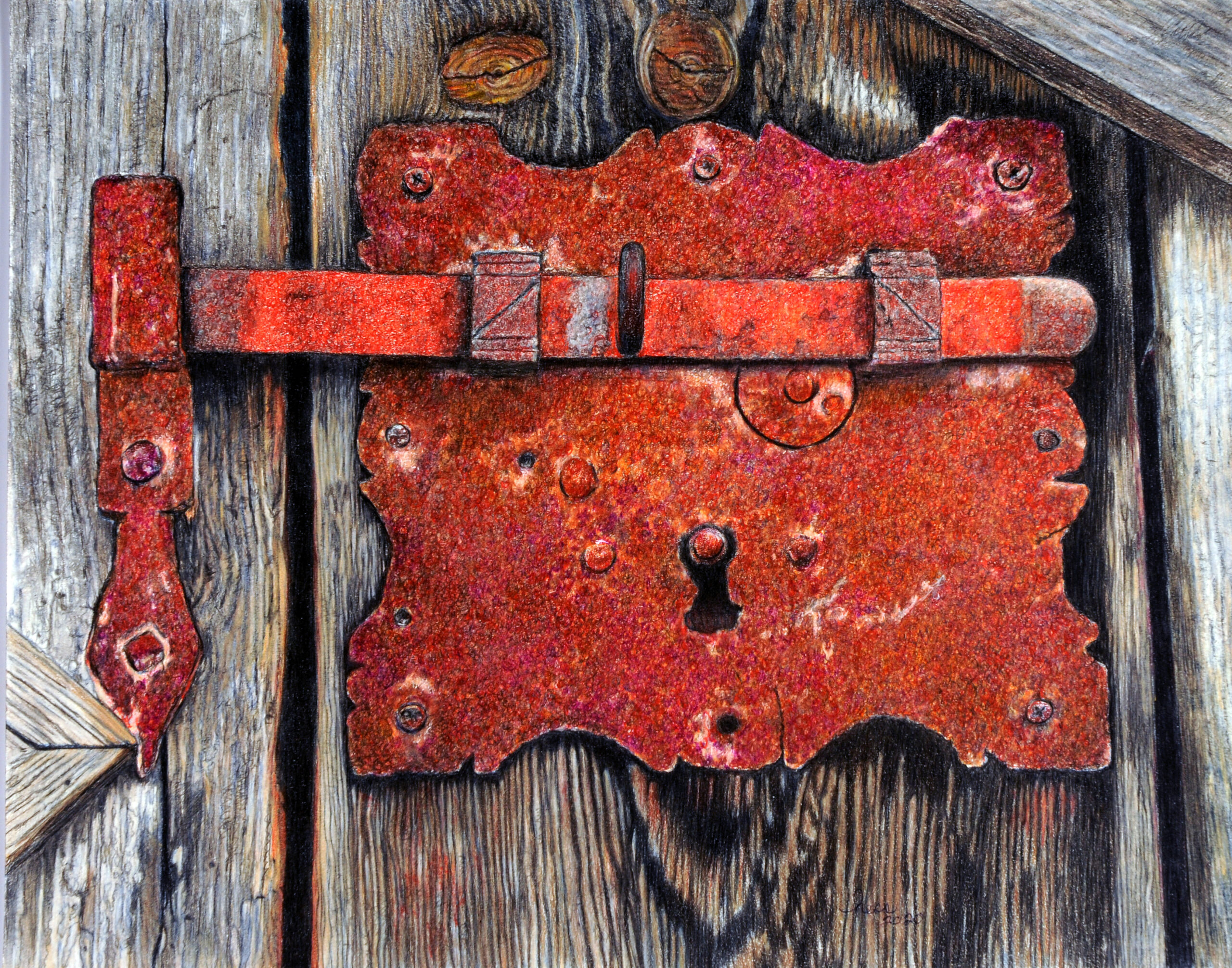 """""""Rusty Key Latch"""" by Barbara Hess, Colored Pencil, Best of Show 2021"""