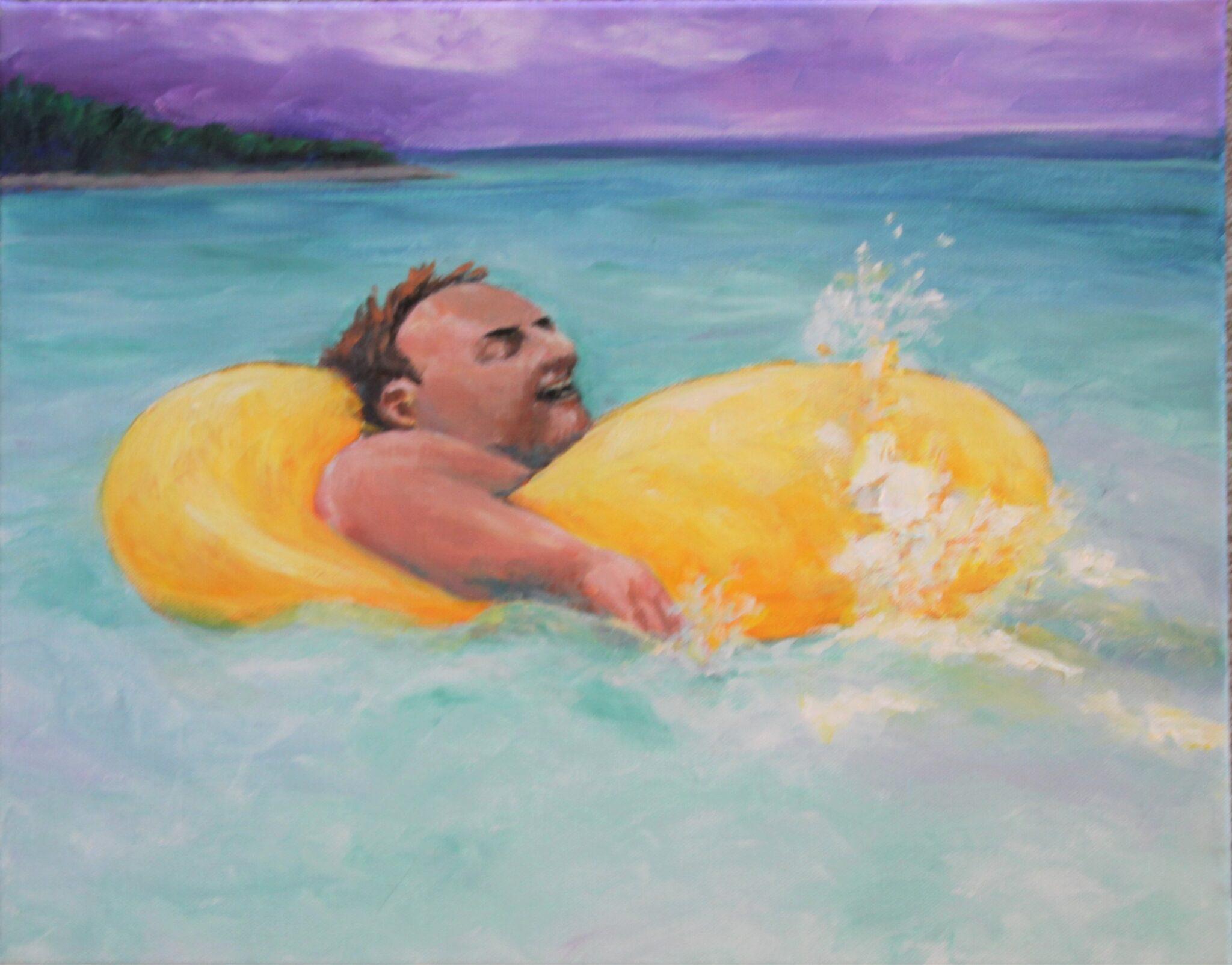 """Sue Greenfield #133 """"Ocean Swim"""" $300.00"""