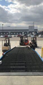 Wide Forklift ramp with level off.