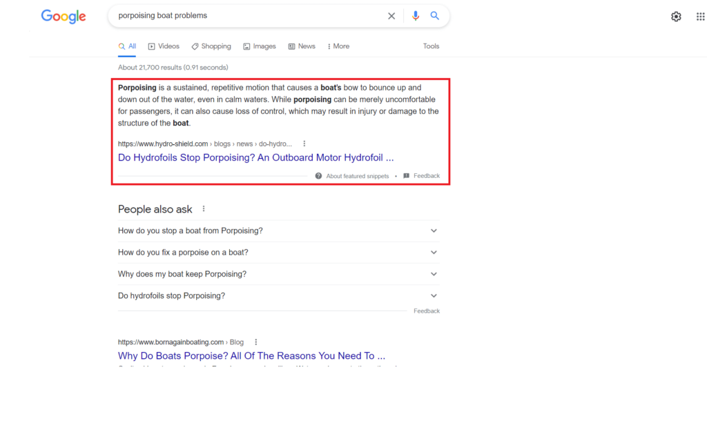 Example of Google snippet result from blog content optimization