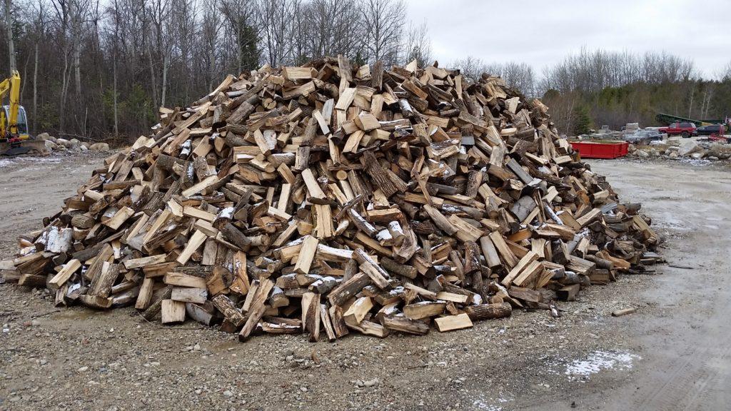 a pile of mixed hardwood