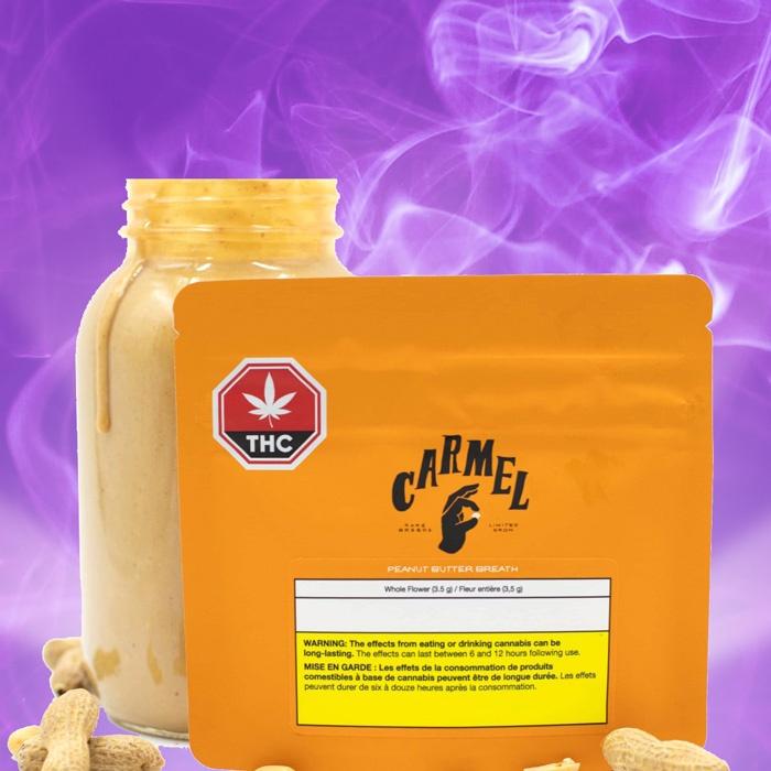 carmel peanut butter breath dried flower purple moose cannabis