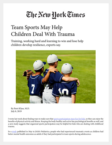 New York Times news article about Team Sports