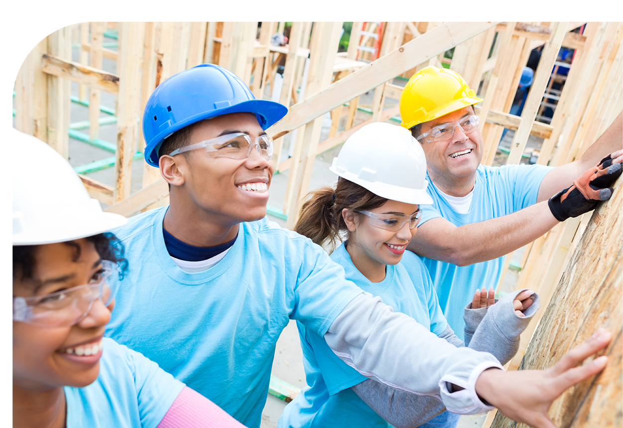 A group of students learning about construction