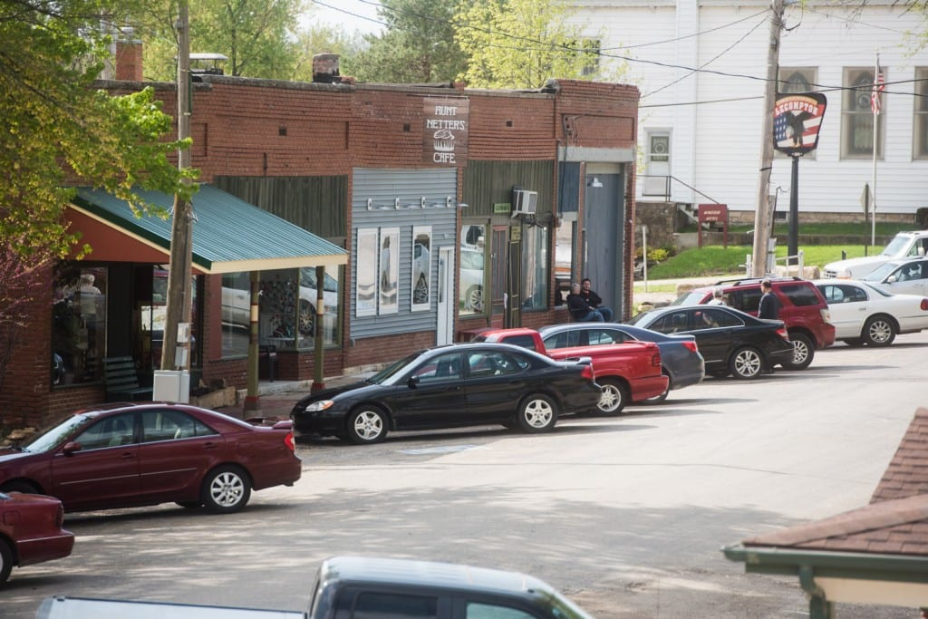 Claymama's and other shops and services in Lecompton's downtown area on Elmore Street.