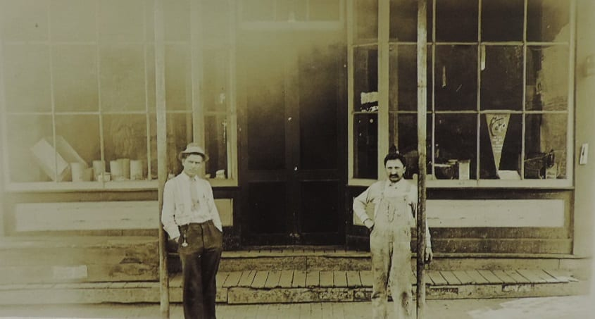 Whipple and Hildenbrand hardware store in downtown Lecompton, pre-1916.