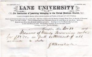 Lane University, bonebrake, kansas, lecompton