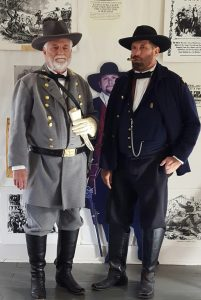 """""""Lee and Grant at Appomattox"""" reenactment by historical performers Randy Durbin and Lane Smith."""