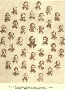 lecompton, constitution hall, george zinn, early settlers, house of representatives, bleeding kansas