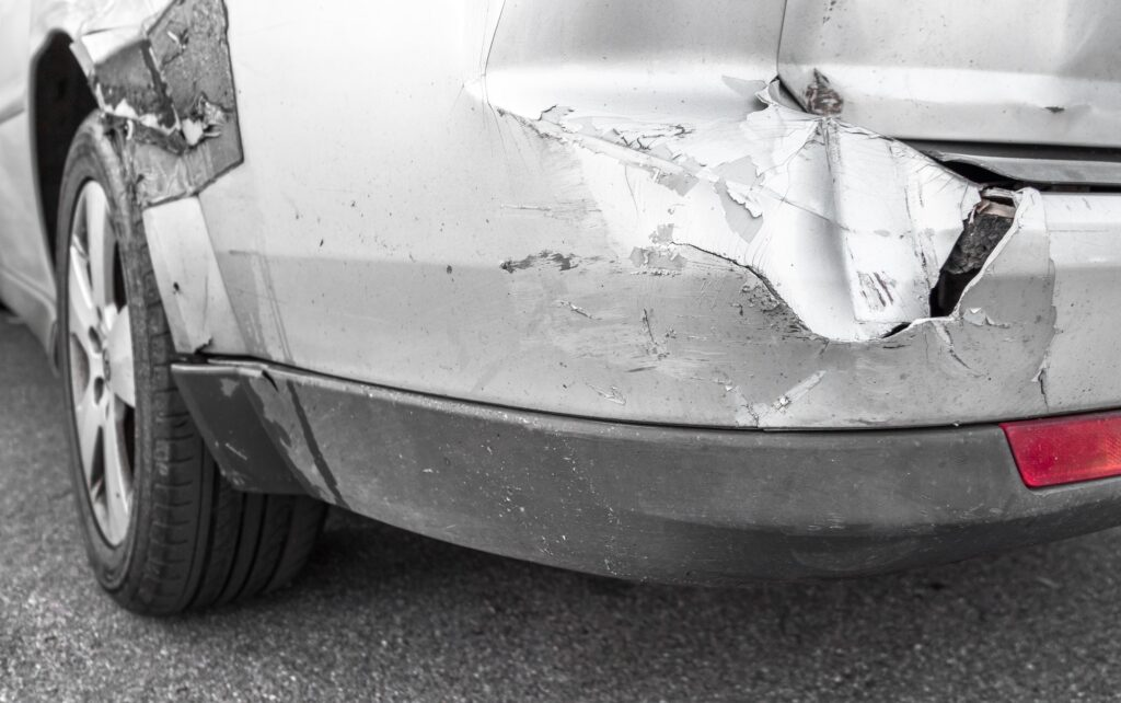 Damaged car after a car accident