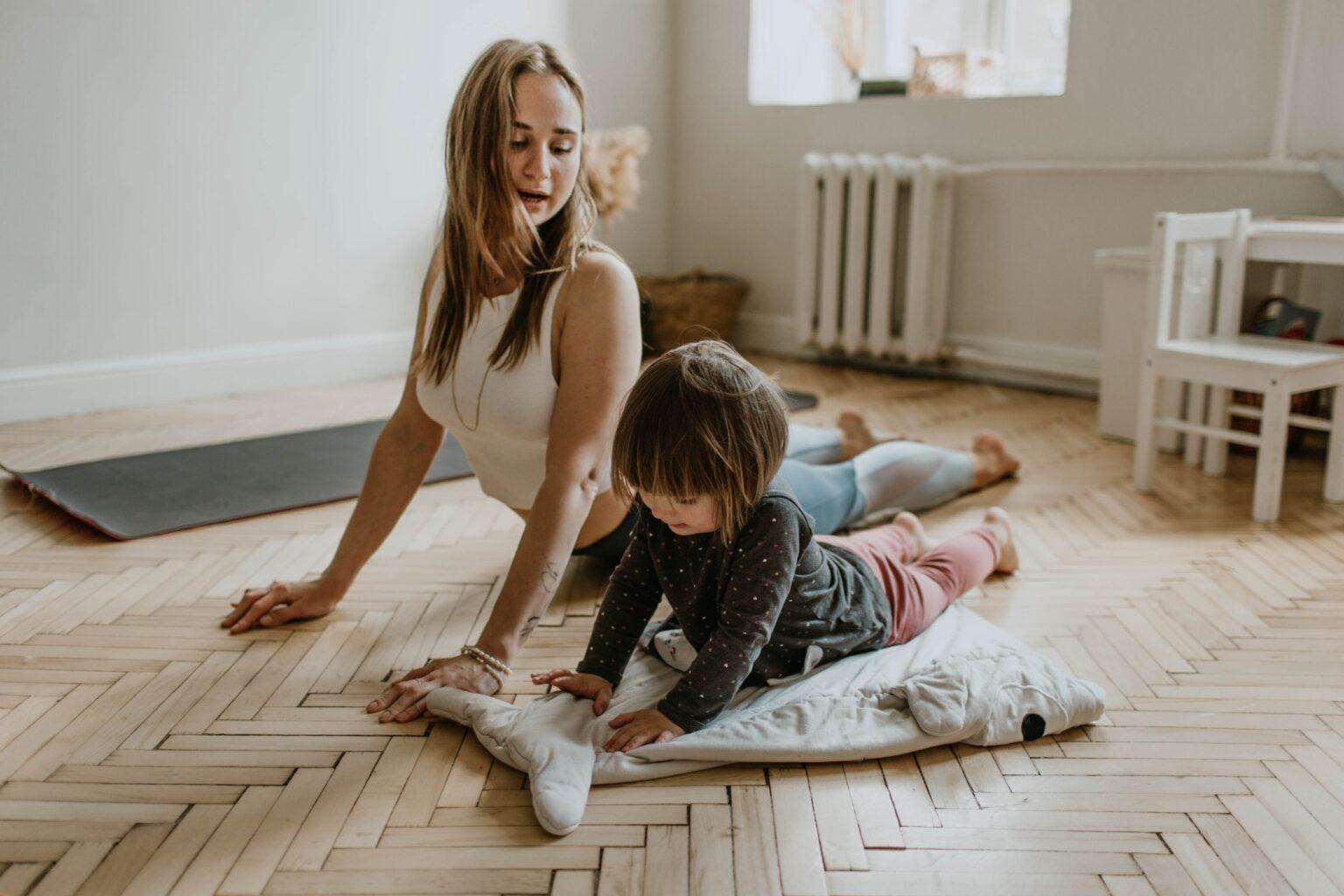 Mum and kid exercising