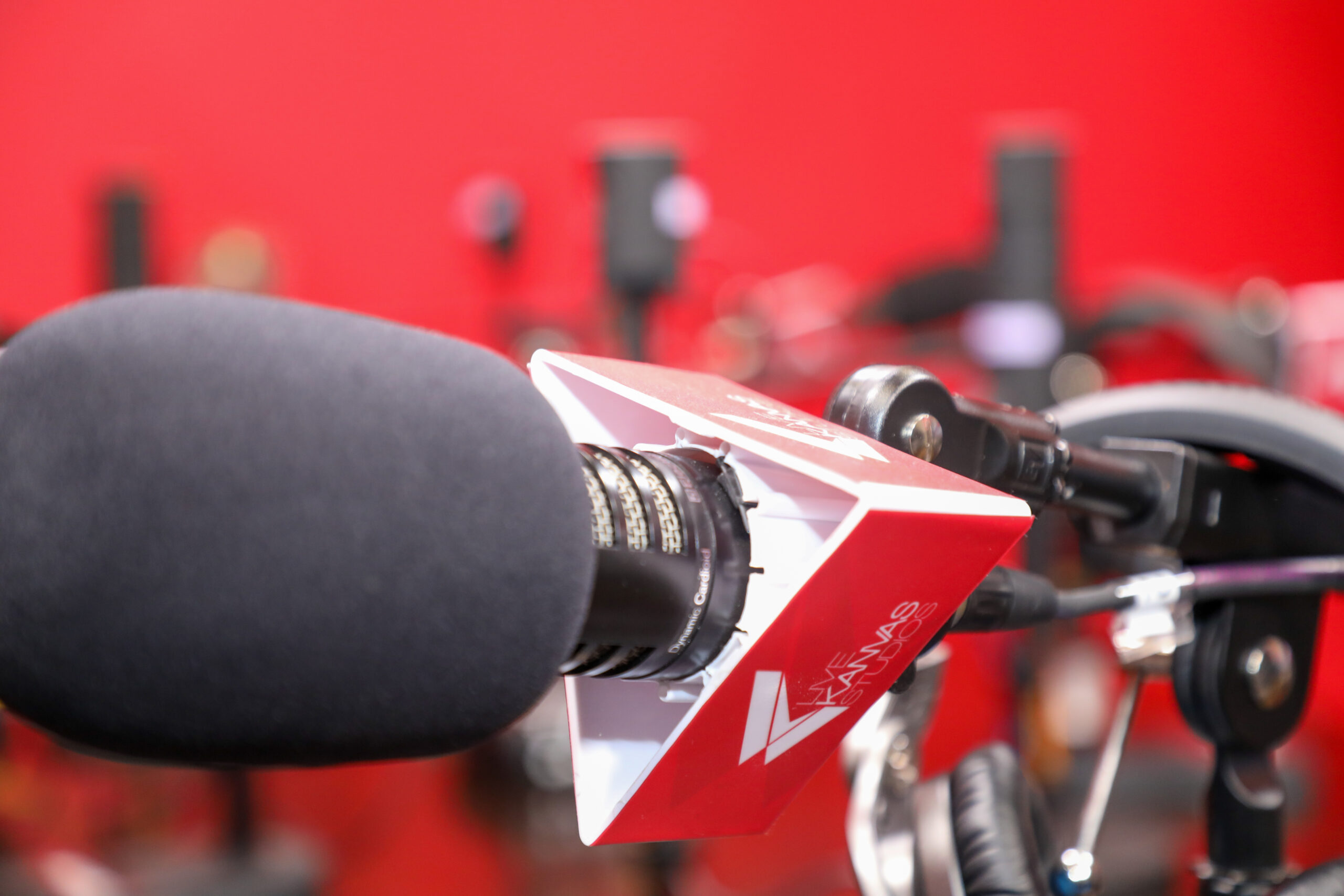Close up of podcast recording microphone