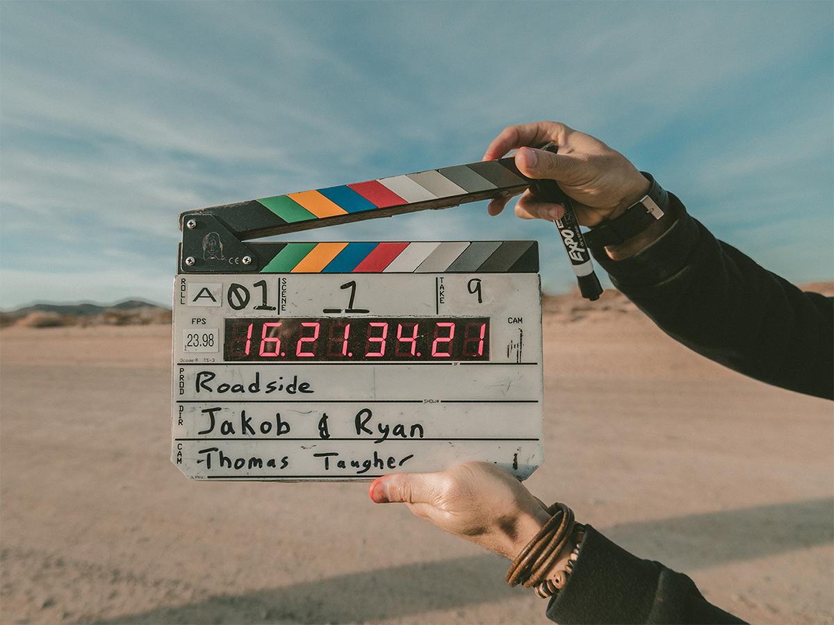 image of movie slate in desert