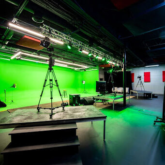 Production studio with green screen