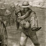 Crossing the Sweetwater 18x24 Charcoal