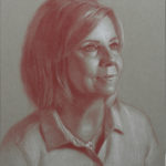 Susan 11x14 Red and White Pastel on Toned Paper SOLD