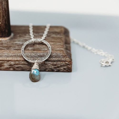 Sterling silver necklace with labradorite drop