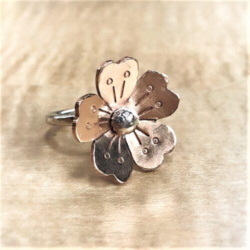 5 petal bronze flower on sterling silver ring