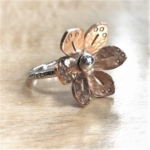 6 petal bronze flower on sterling silver ring