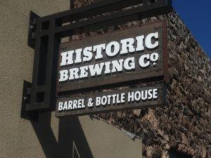 HISTORIC Barrel and Bottle Flag Sign