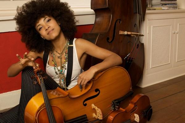 Esperanza Spalding on Floor with Bass