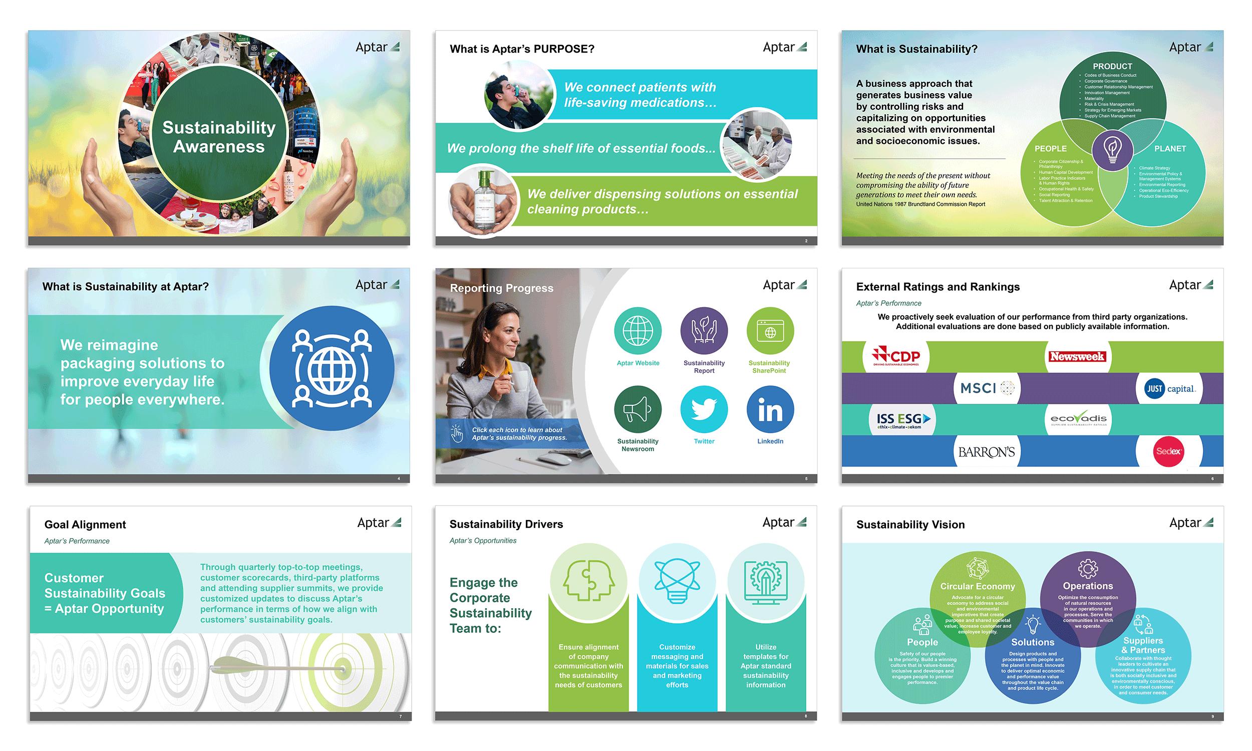Slideshow presentation design by Virtual Apiary for Aptar