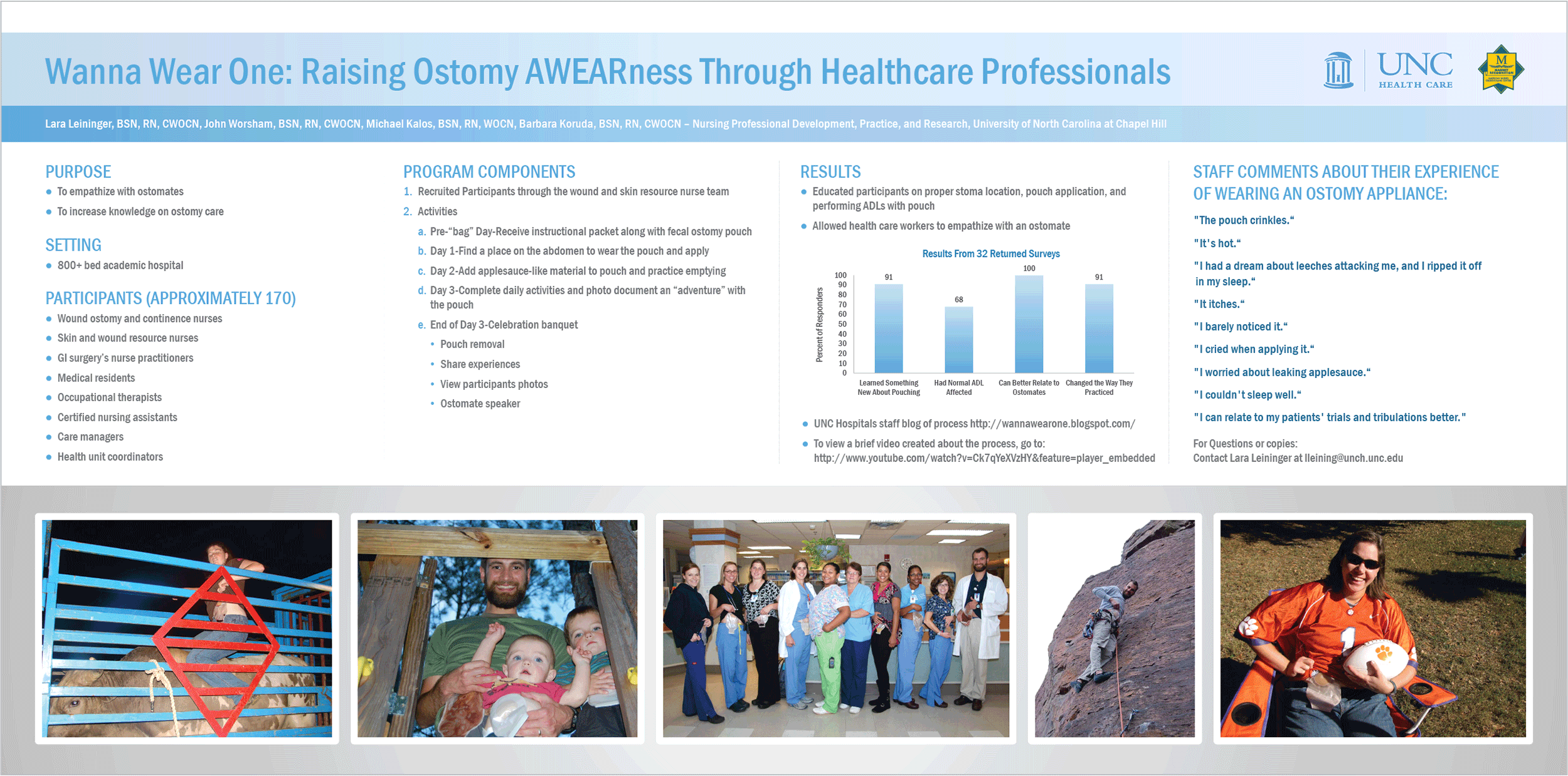 Research poster design by Virtual Apiary for UNC Ostomy