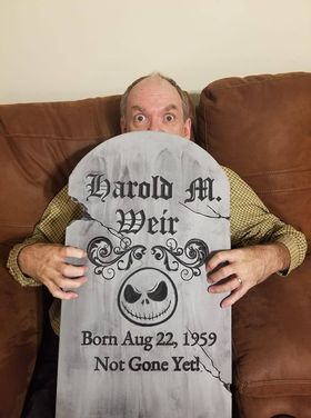 Roger's buddy, Harold Weir, with his personalized tombstone