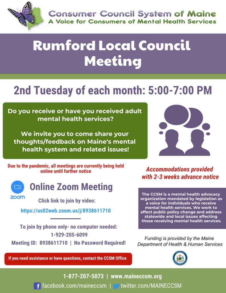 Local Council meeting flyer contains link to monthly Zoom meeting.