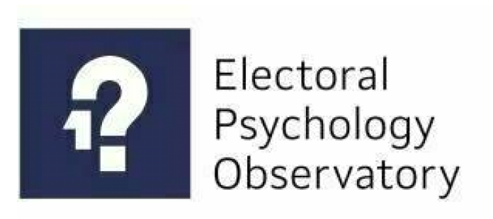 """Electoral Psychology Observatory Logo Blue Box on left with a Question mark and the number 1 under the hook of the question mark, words """"Electoral Psychology Observatory"""" on the left in black font with white background"""