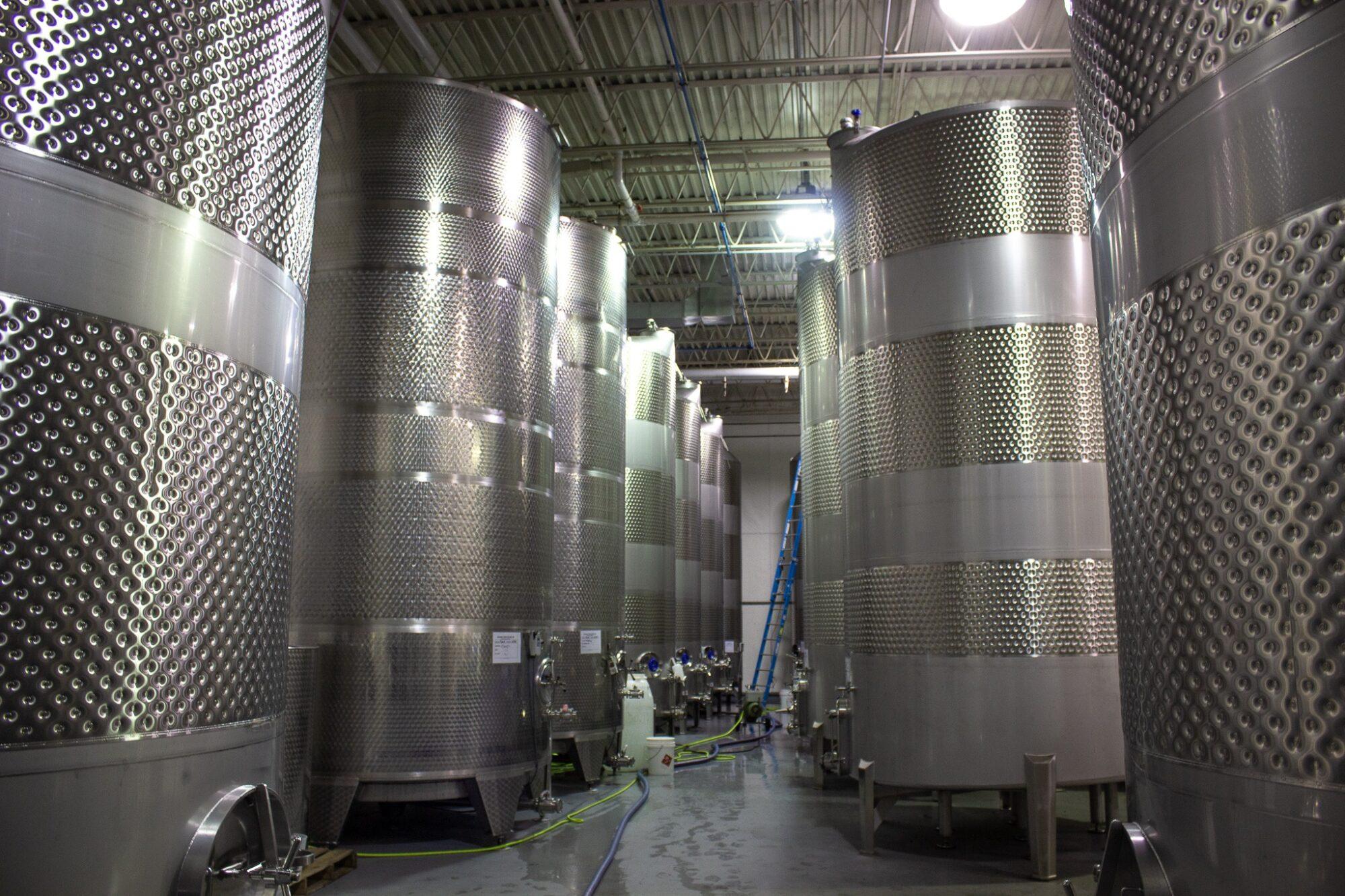 Production Line with 60,000 gallon fermentation tanks