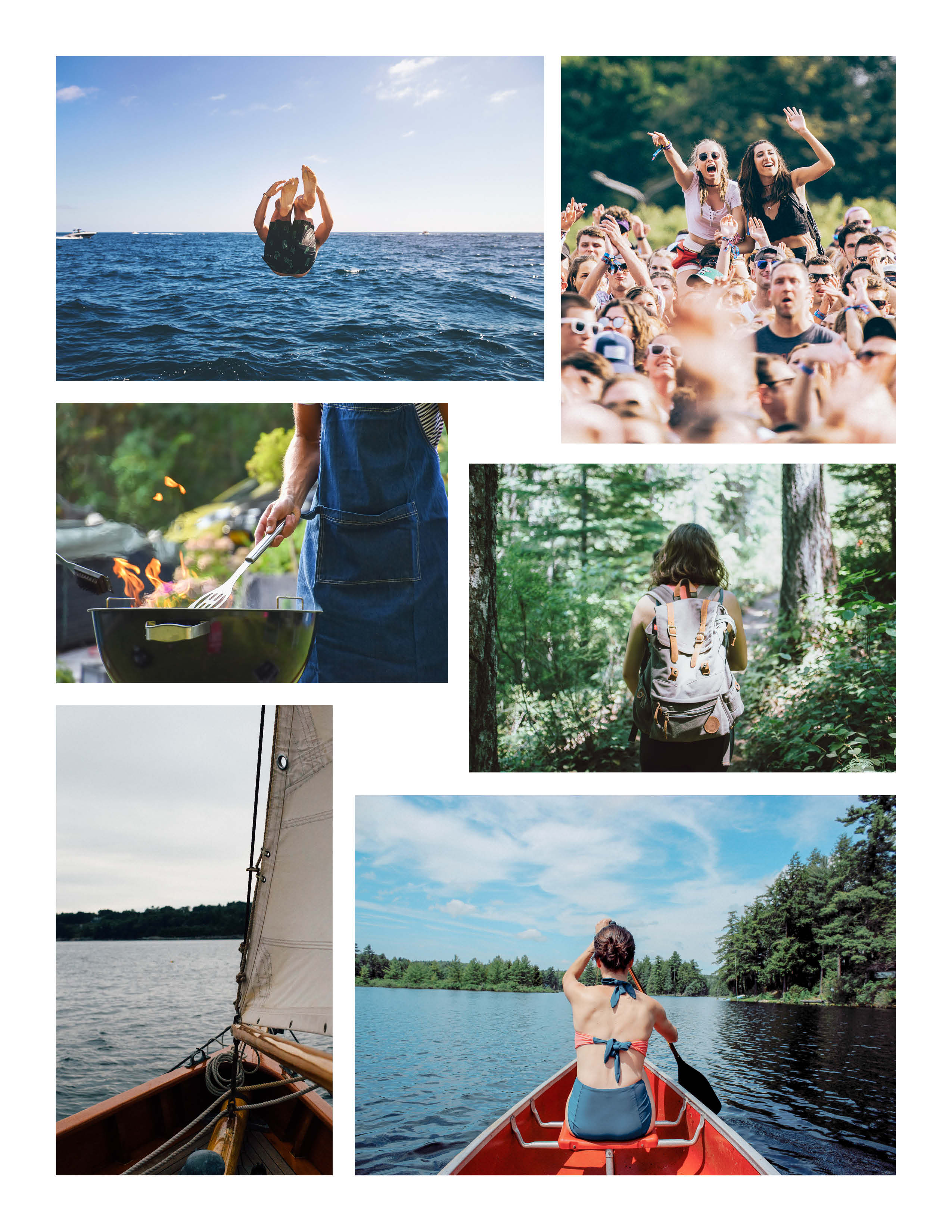 six picture collage of outdoor adventures and fun