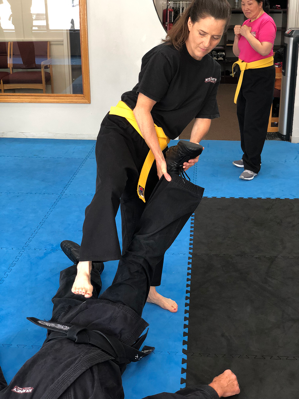 Journey Martial Arts Kempo Woman re-stomping the groin
