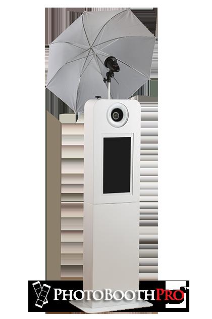 Selfie Max Photo Kiosk with professional umbrella light