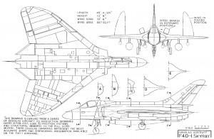 Douglas F4D Skyray multi-view drawing.  Source, Douglas Aircraft