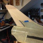 Final shaped dorsal test fit on fuselage