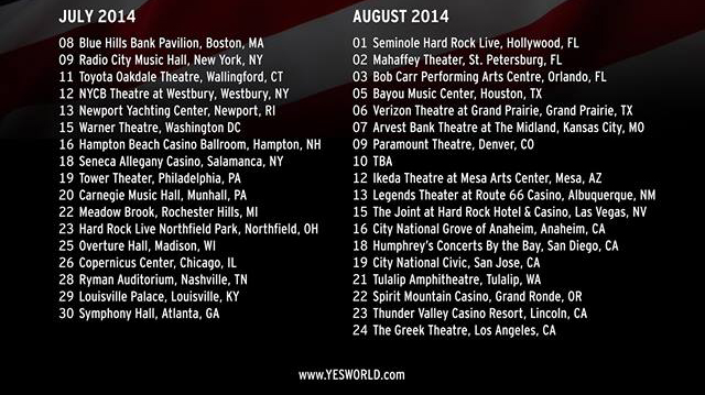 yes tour dates