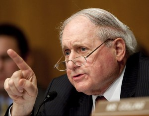 Senator Carl Levin, a Democrat from Michigan, chairs a Senate Homeland Security and Governmental Affairs subcommittee hearing on Wall Street and the financial crisis in Washington, D.C., U.S., on Tuesday, April 27, 2010. Fabrice Tourre, the Goldman Sachs Group Inc. executive director sued by the Securities and Exchange Commission for fraud, told the Senate subcommittee that he will defend himself in court against the suit. Photographer: Andrew Harrer/Bloomberg *** Local Caption *** Carl Levin