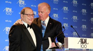 """Vice President Joe Biden, right, sings """"happy birthday"""" to Abraham H. Foxman, National Director of the Anti-Defamation League. Biden, a surprise guest at the ADL's Centennial Gala, April 30 in Washington D.C., spoke about the agency's achievements in combating anti-Semitism and bigotry over the past century ( Photo/ David Karp)"""