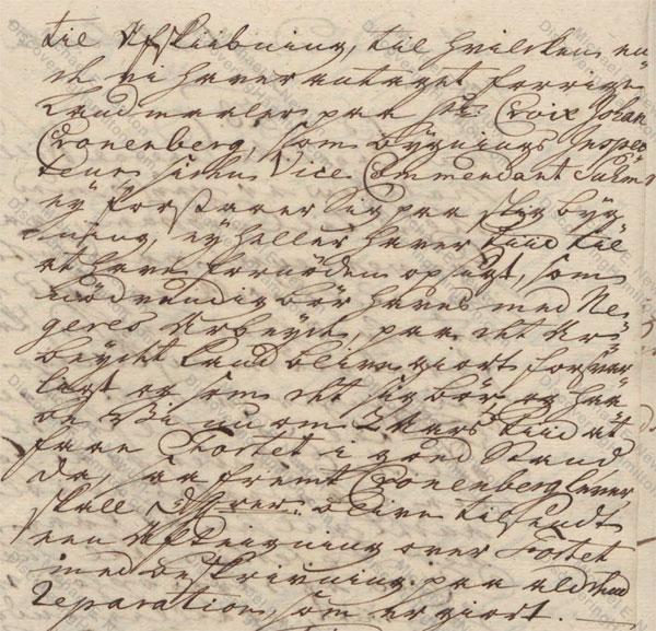Johan Cronenberg on St. Thomas, August 12, 1750
