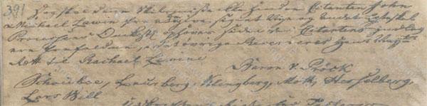 John Michael Lavien divorce ruling, June 25, 1759