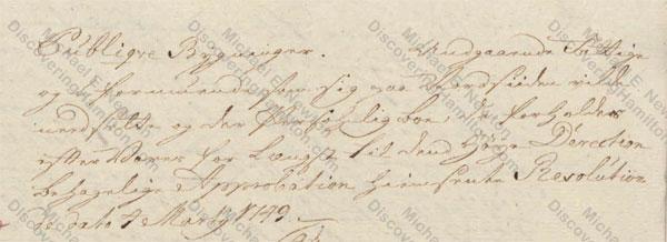 St. Croix Privy Council, July 30, 1750, about Johan Cronenberg