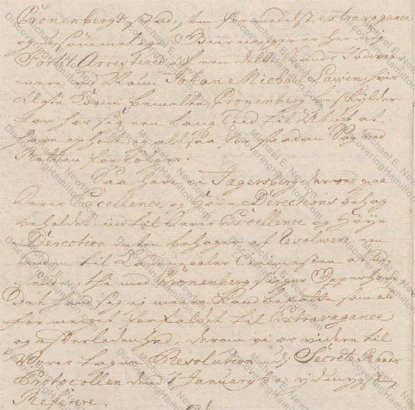 St. Croix Privy Council, March 25, 1750, about Rachel Faucett Lavien and Johan Cronenberg